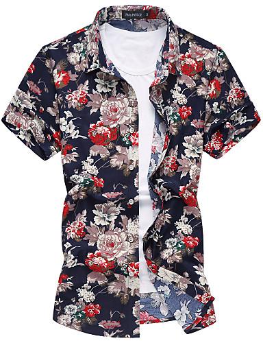 Homens Camisa Social Flor, Floral Algodão Colarinho Clássico