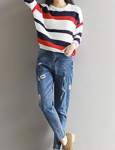 Damen Street Schick Mittlere Hüfthöhe Mikro-elastisch Jeans Chinos Schlank Hose Solide
