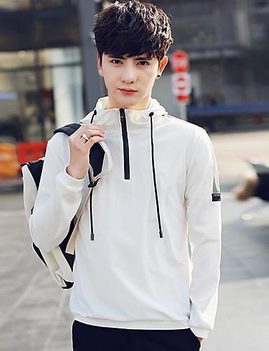 Pánské Jednobarevné Běžné/Denní Jednoduchý Bunda-Léto Polyester Kapuce Dlouhý rukáv Standardní
