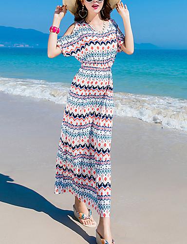 Dámské Jdeme ven Plážové Na běžné nošení Pouzdro Maxi Šaty Proužky Krátký rukáv Kulatý Low Rise Léto Hedvábí Bavlna