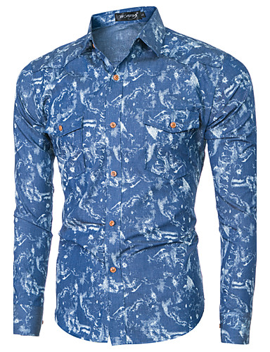 Men's Wedding / Daily / Work Vintage / Casual / Street chic Cotton / Polyester Shirt - Floral / Geometric Denim / Long Sleeve / Club