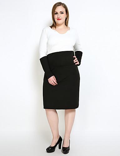 Mulheres Tamanhos Grandes Reto Bainha Preto e Branco Vestido Estampa Colorida Retalhos Decote V