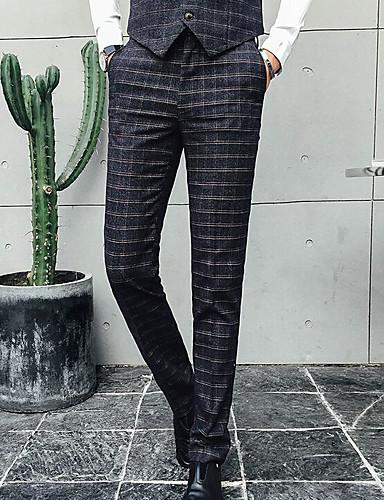 Pánské Jednoduchý Není elastické Provozovna Kalhoty Volný High Rise Pléd