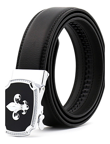 Men's Party Work Leather Alloy Waist Belt - Color Block