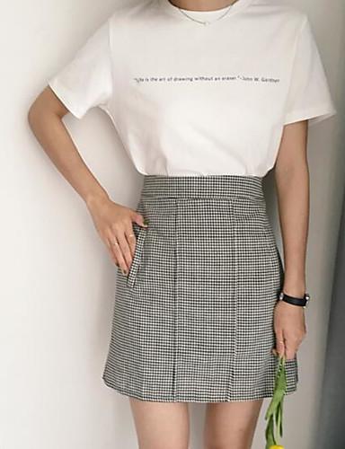 Damen Ausgehen Mini Röcke A-Linie,Andere Einfarbig Schachbrett Sommer