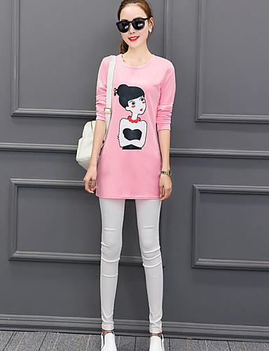 Damen Solide Einfach Lässig/Alltäglich T-shirt,Rundhalsausschnitt Frühling Langarm Baumwolle