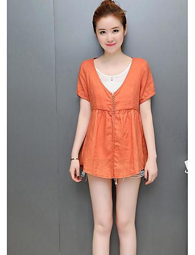 Damen Solide Einfach Lässig/Alltäglich Hemd,V-Ausschnitt Sommer Kurzarm Baumwolle