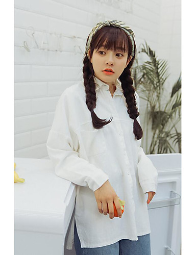 Damen Solide - Freizeit Baumwolle Hemd, Hemdkragen