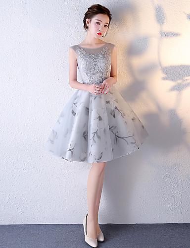 a-line Juwel Hals Knielänge Tüll Brautjungfer Kleid mit Applikationen Stickerei von myf