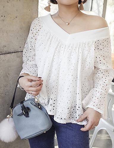 Damen Solide Retro Einfach Lässig/Alltäglich T-shirt,V-Ausschnitt Langarm Baumwolle