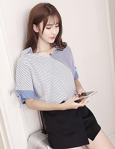 Dámské Proužky Běžné/Denní Jednoduché Košile-Léto Polyester Do V Krátký rukáv