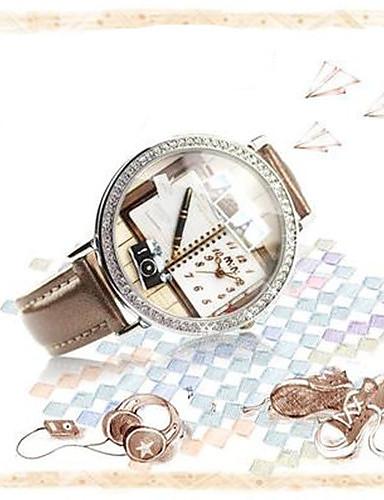 Mulheres Quartzo Relógio de Pulso Venda imperdível Couro Banda Amuleto Fashion Marrom