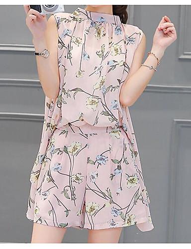 Damen Druck Einfach Lässig/Alltäglich Bluse Hose Anzüge,Rundhalsausschnitt Sommer Ärmellos Mikro-elastisch