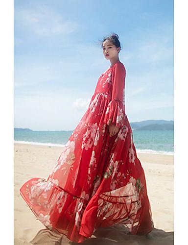 Dámské Čínské vzory Běžné/Denní Swing Šaty Jednobarevné Geometrický,Dlouhý rukáv Do V Maxi Polyester Léto Low Rise Neelastické Tenké