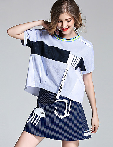 Damen Solide Alltag T-shirt Rock Anzüge,Rundhalsausschnitt Sommer Kurze Ärmel Baumwolle / Nylon mit einem Hauch von Stretch