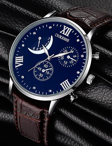 Homens Quartzo Relógio de Pulso Com Strass Couro Banda Amuleto Fashion Preta Marrom