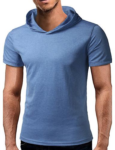 Herrn Solide T-shirt, Mit Kapuze Baumwolle