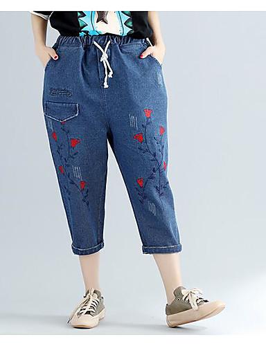 Dámské Na běžné nošení Lehce elastické Harémové Rovné Volné Kalhoty Mid Rise Tisk Léto