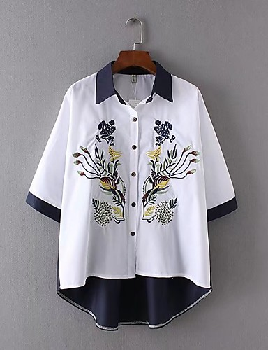 Damen Solide Einfach Lässig/Alltäglich Hemd,V-Ausschnitt ½ Länge Ärmel Polyester