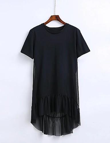 Damen A-Linie Lose Etuikleid Kleid Einfach Street Schick Solide Rundhalsausschnitt Übers Knie Kurzarm Seide Baumwolle Sommer Herbst