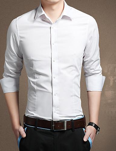 Herren Solide Einfach Lässig/Alltäglich Hemd,Umlegekragen Langarm Polyester