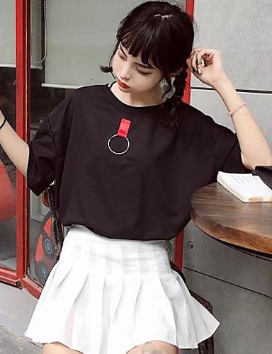 Damen Patchwork Einfach Lässig/Alltäglich T-shirt,Rundhalsausschnitt Frühling Sommer ½ Länge Ärmel Baumwolle Dünn