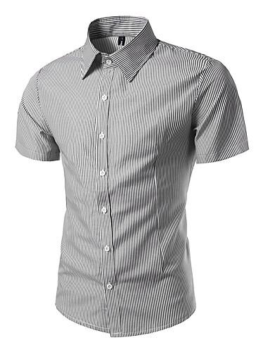 Herren Gestreift Einfach Lässig/Alltäglich Arbeit Hemd,Hemdkragen Kurzarm Polyester