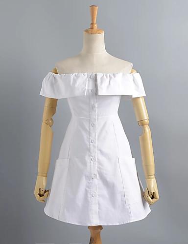 Damen Lose Kleid-Ausgehen Einfach Solide Bateau Übers Knie Kurzarm Baumwolle Polyester Sommer Hohe Hüfthöhe Mikro-elastisch Dünn