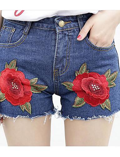 Dámské Jednoduchý Mikro elastické Kraťasy Kalhoty Široké nohavice Mid Rise Tisk
