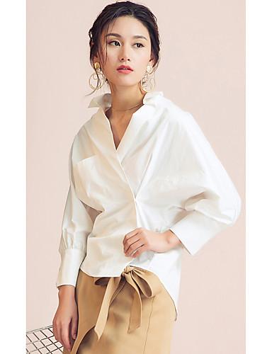 Mulheres Camisa Social Sólido Colarinho de Camisa