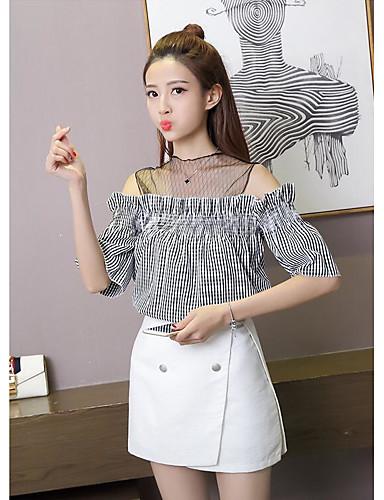 Damen Gestreift Hemd, Bateau Baumwolle Polyester