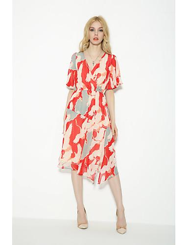 Damen Lose Etuikleid Kleid-Ausgehen Lässig/Alltäglich Einfach Street Schick Druck Rundhalsausschnitt Übers Knie Kurzarm Seide Baumwolle