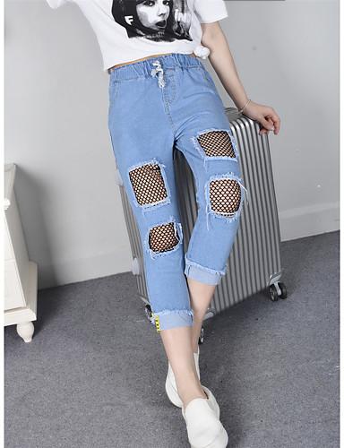 Damen Sexy Hohe Hüfthöhe Mikro-elastisch Jeans Lose Hose einfarbig