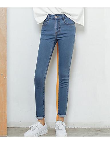 Dámské Jednoduchý Mikro elastické Džíny Kalhoty Vypasovaný Mid Rise Jednobarevné