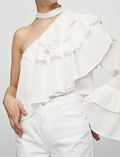 Damen Solide Einfach Lässig/Alltäglich Bluse,Halter Sommer Langarm Polyester Mittel