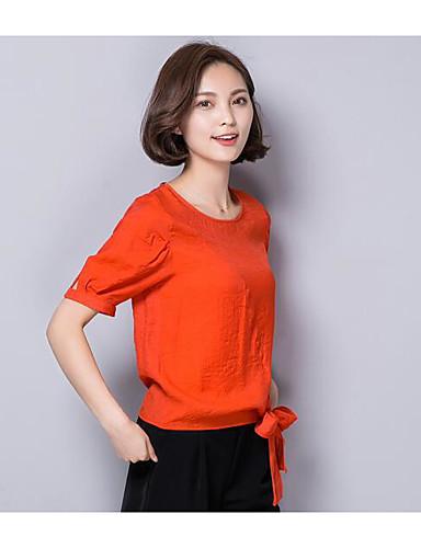 Damen Solide Street Schick Ausgehen Hemd,Rundhalsausschnitt Kurzarm Baumwolle