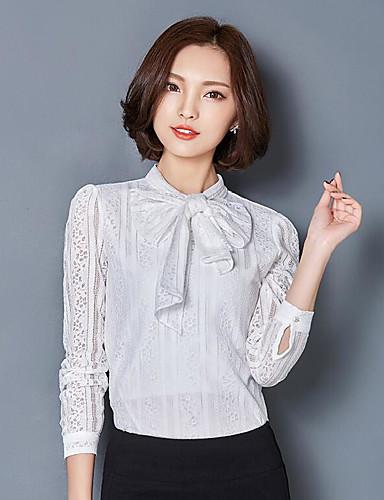 Damen Solide Anspruchsvoll Lässig/Alltäglich T-shirt,Rundhalsausschnitt Langarm Andere