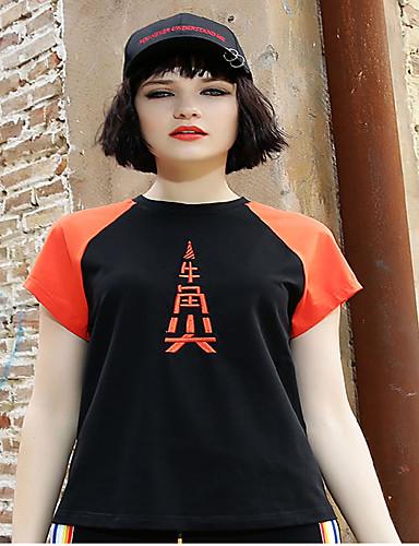 Naiset Lyhythihainen Pyöreä kaula-aukko Polyesteri / puuvilla sekoitus Yksinkertainen Päivittäin Kausaliteetti T-paita,Color Block
