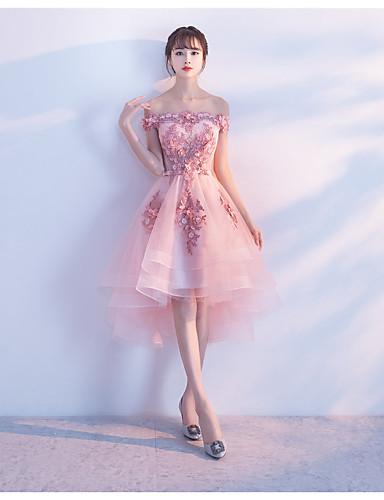 A-line off-the-shoulder epäsymmetrinen tulle cocktaileja mekko