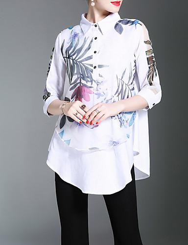 Mulheres Camisa Social - Trabalho Temática Asiática Estampado Poliéster Colarinho de Camisa