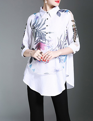 Women's Work Chinoiserie Shirt Print Shirt Collar / Spring / Summer / Floral