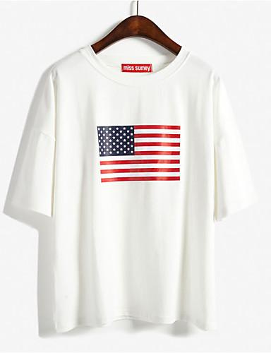 Damen Einfarbig - Freizeit Baumwolle T-shirt Druck