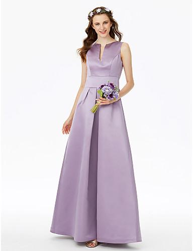 billige Lange brudepikekjoler-A-linje Med åpning Gulvlang Sateng Brudepikekjole med Lomme / Plissert av LAN TING BRIDE®