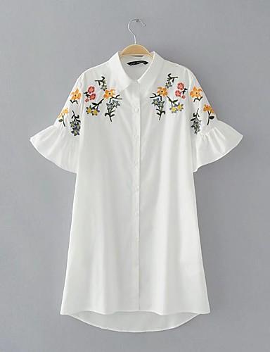 Damen Lose Etuikleid Kleid-Ausgehen Lässig/Alltäglich Einfach Street Schick Stickerei Hemdkragen Übers Knie Kurzarm Seide Baumwolle