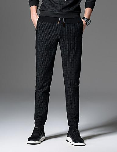 Herren Freizeit Mittlere Hüfthöhe Mikro-elastisch Eng Schlank Hose,Polyester Frühling Herbst Linien / Wellen