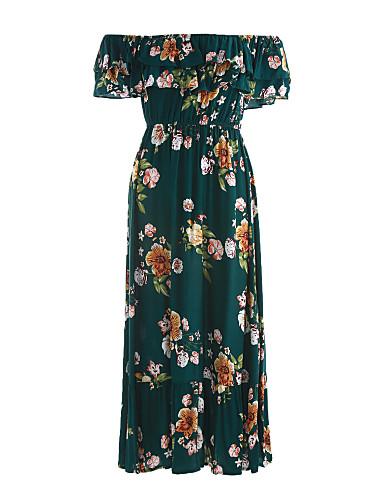 فستان نسائي قياس كبير متموج كلاسيكي & خالد طباعة - قطن ميدي فضفاض رقبة باتو مناسب للخارج