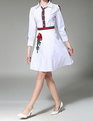 Damen Lose Kleid-Lässig/Alltäglich Einfach Solide Quadratischer Ausschnitt Übers Knie Kurzarm Baumwolle Sommer Mittlere Hüfthöhe