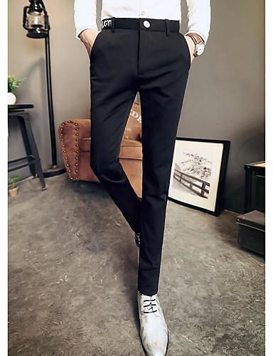 Pánské Jednoduchý Mikro elastické Kalhoty chinos Kalhoty Štíhlý Mid Rise Jednobarevné