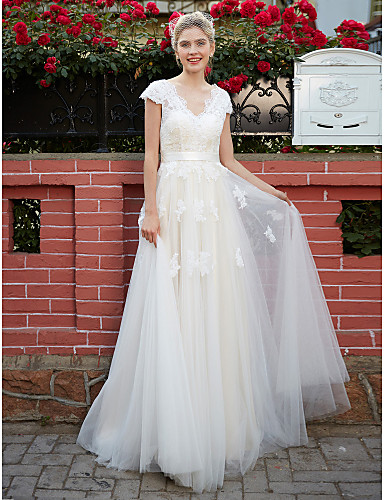 A-Line V Neck Floor Length Lace Over Tulle Made-To-Measure Wedding Dresses with Appliques / Sash / Ribbon by LAN TING BRIDE®