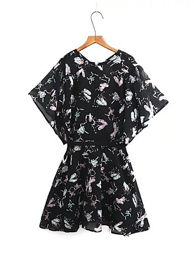 Damen Lose Etuikleid Kleid-Ausgehen Lässig/Alltäglich Einfach Street Schick Blumen Rundhalsausschnitt Übers Knie Kurzarm Seide Baumwolle